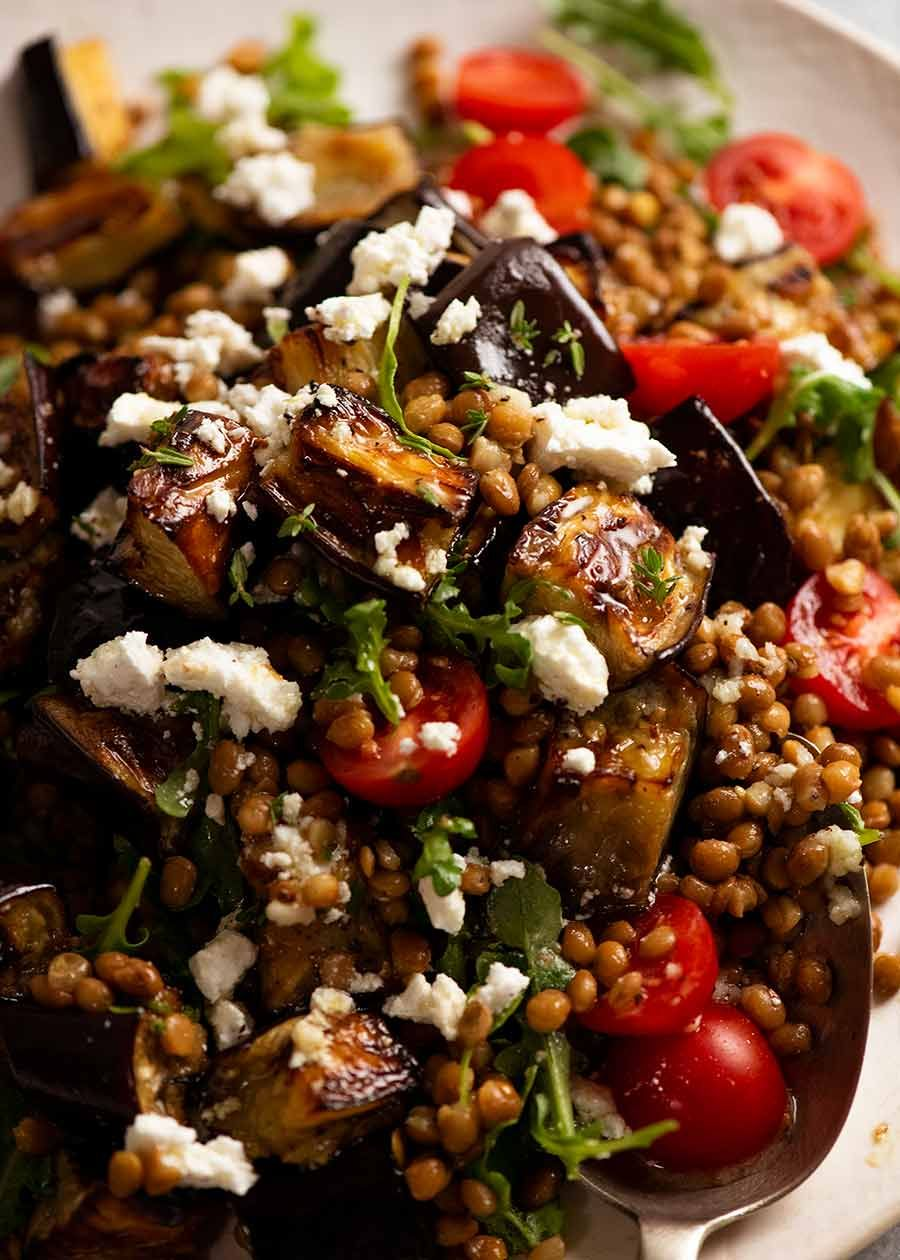 Lentil And Roasted Eggplant Salad Recipe In 2020 Roasted Eggplant Salad Lentil Salad Eggplant Salad