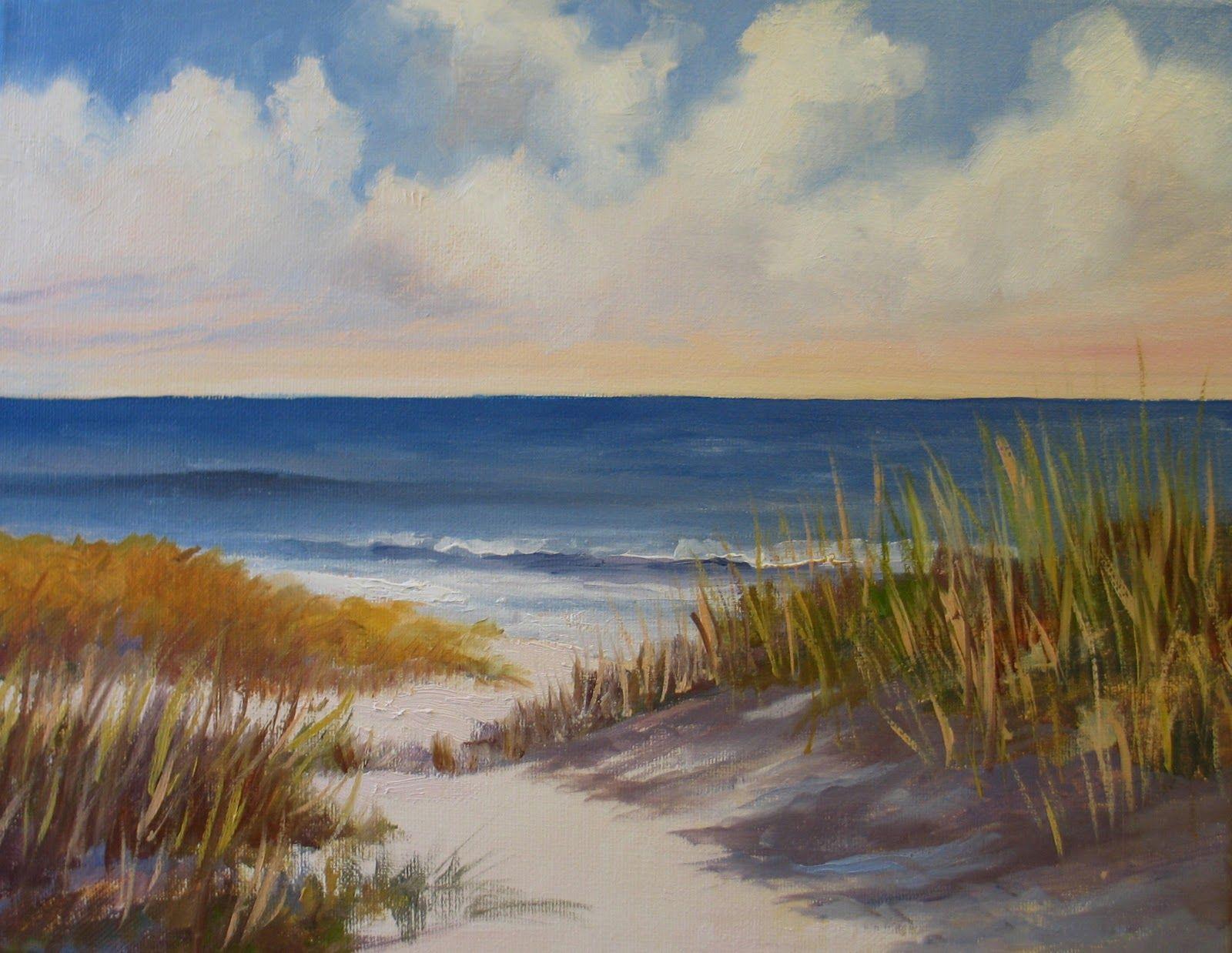 Rose Orange Irises Watercolor Sold Beach Scene Painting Beach