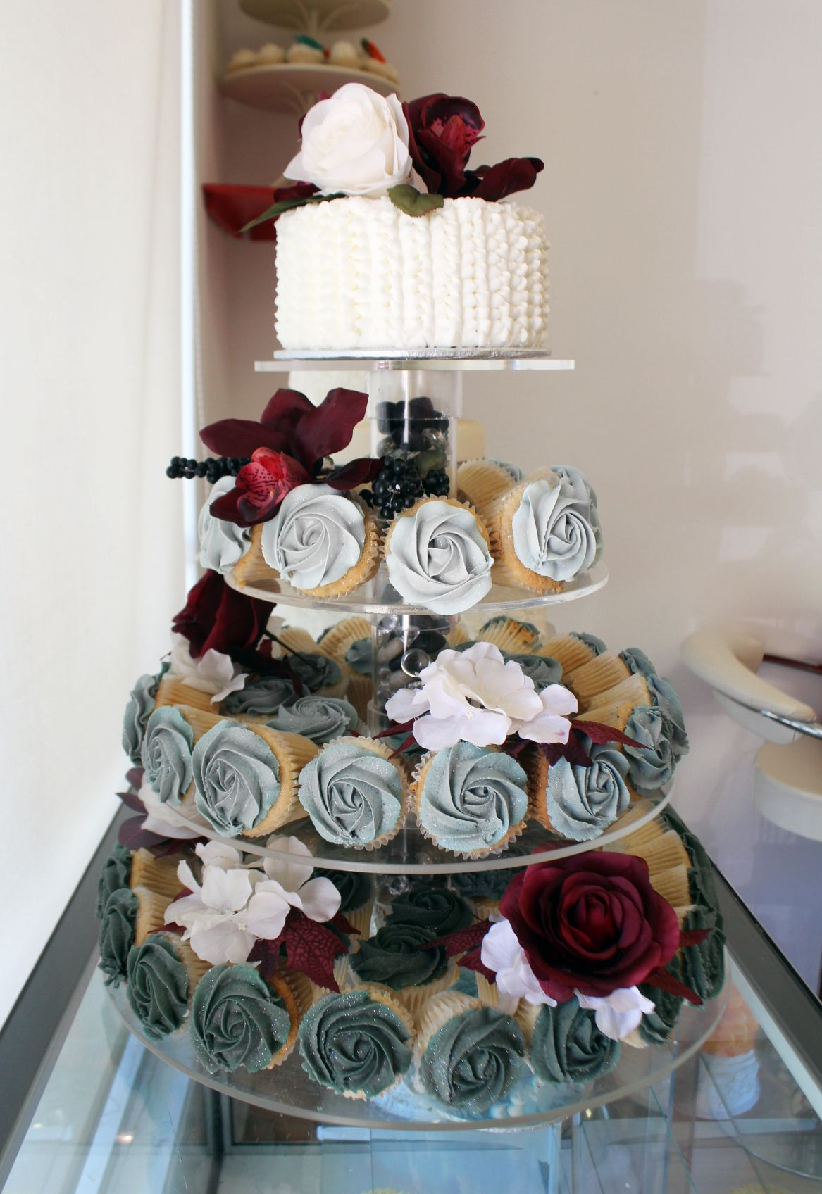 Ombre Grey And Burgundy Wedding Cupcake Tier With Cutting