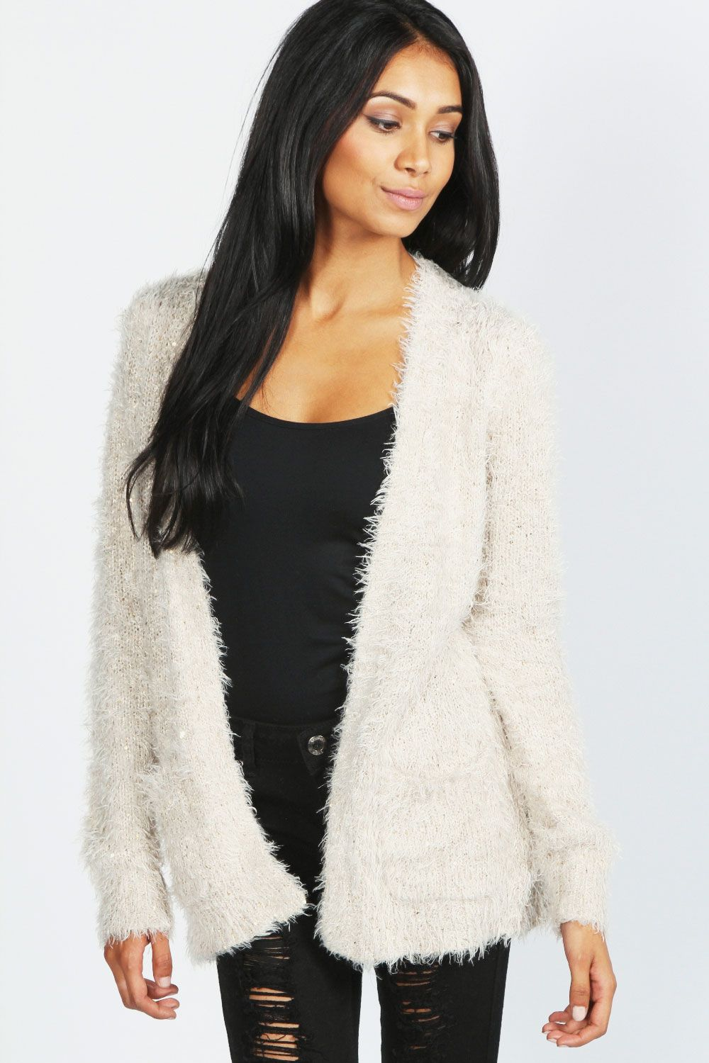 Rosalyn Sequin Fluffy Cardigan | Outfits 2... | Pinterest ...