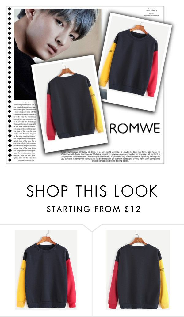 """Contrast Drop Shoulder Sleeve Print Sweatshirt"" by soleuza ❤ liked on Polyvore featuring Whiteley"
