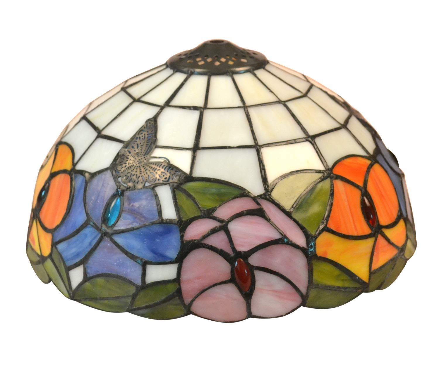 Noshy Tiffany Style Butterfly And Flower Stained Glass Table