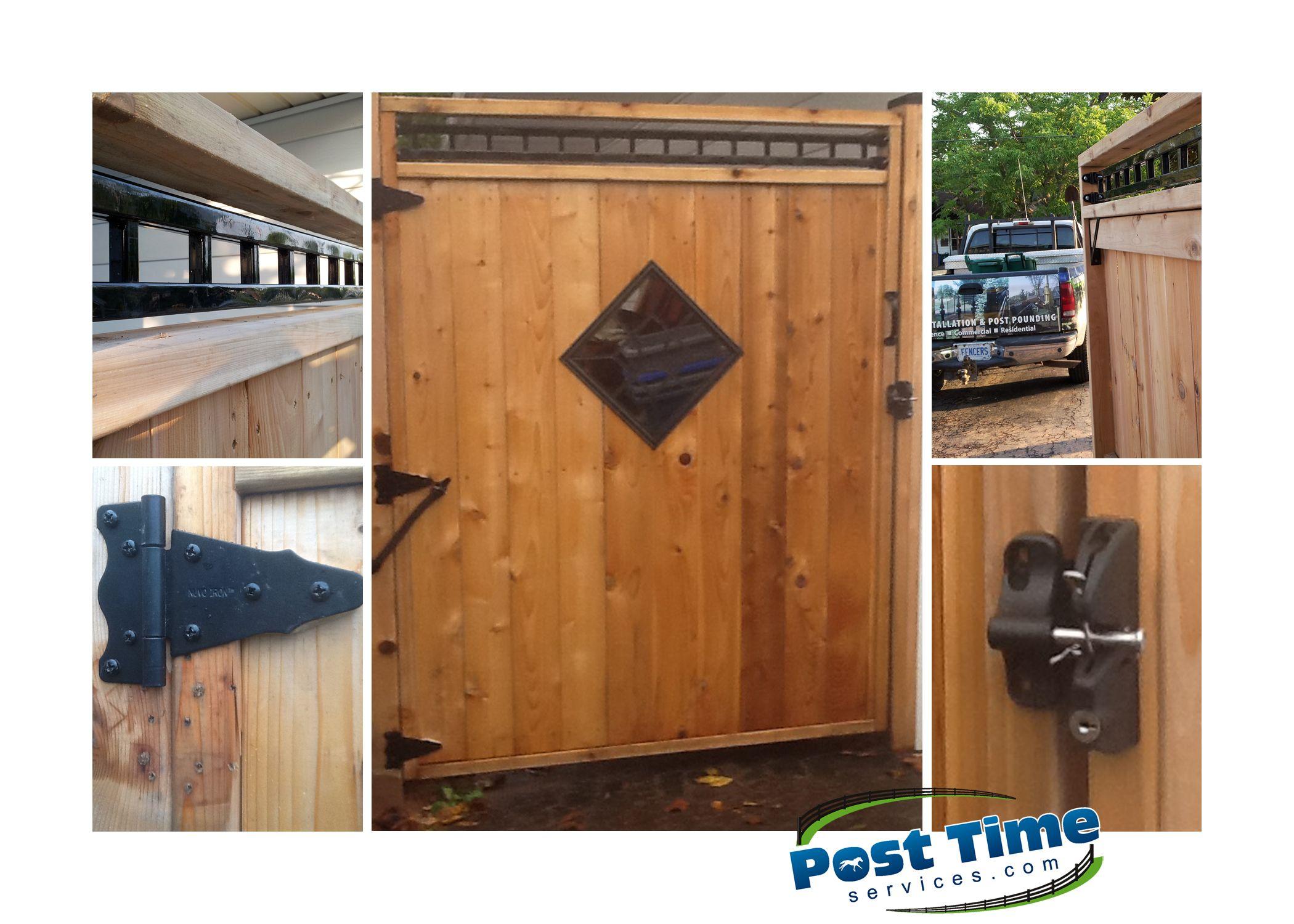 this cedar gate has ornamental diamond insert self closing spring