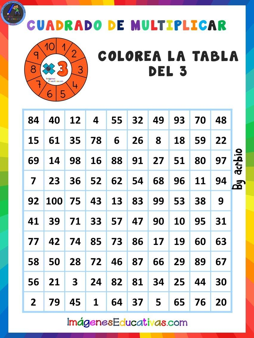 Cuadrado De Multiplicar 3 Words Math Word Search Puzzle