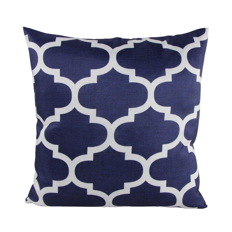 Amazon.com - Puredown Canvas Decorative Cushion Covers Sofa Chair Seat Throw Pillow Case Quatrefoil