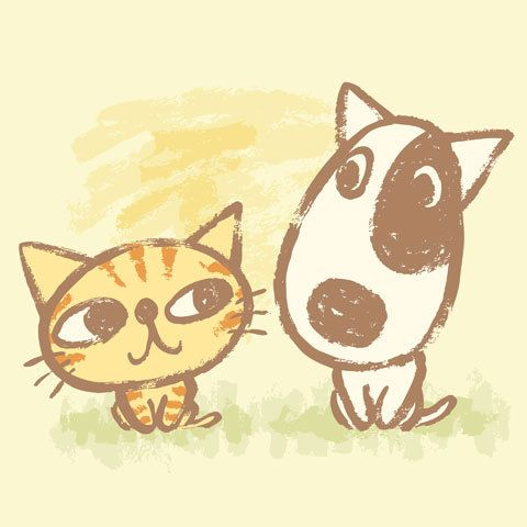 Cute Cat And Dog Cartoon Vector Image On With Images Zwgrafikh