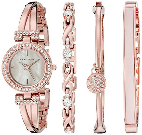 Anne klein women s ak 2238rgst swarovski crystal accented rose gold tone bangle watch and for Anne klein rose gold watch set
