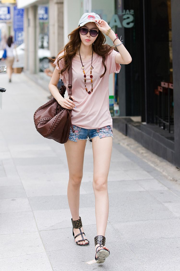 Pink Top Customized Denim Short Cap And Sandals