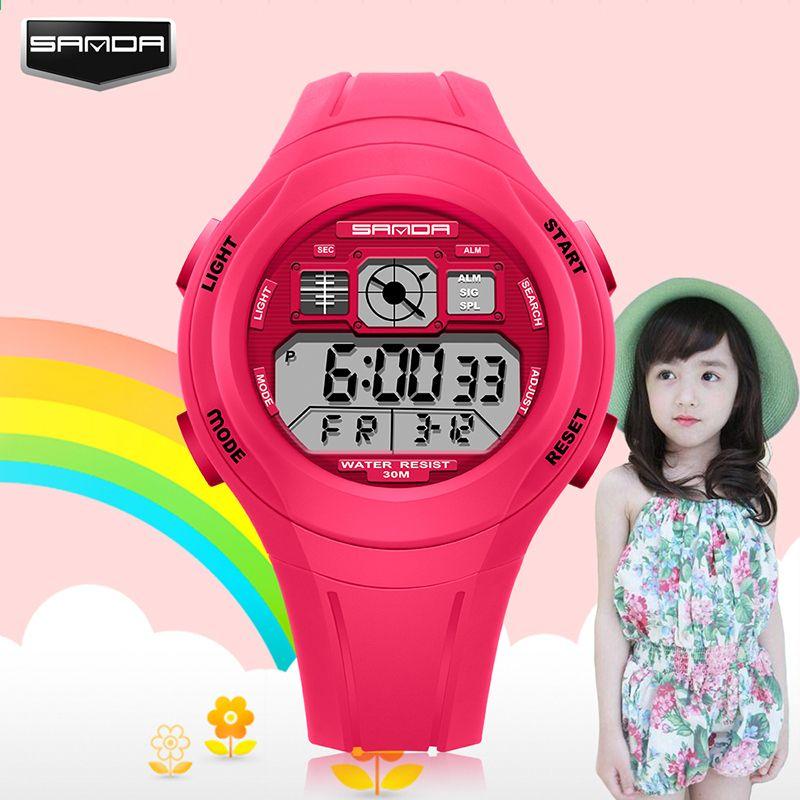 SANDA Nejlepší značka Digital Kids hodinky Sport LED Elektronické hodinky  Kid LED náramkové hodinky Dětské hodiny Gumové pásy Sport Montre Enfant 93a15d72483