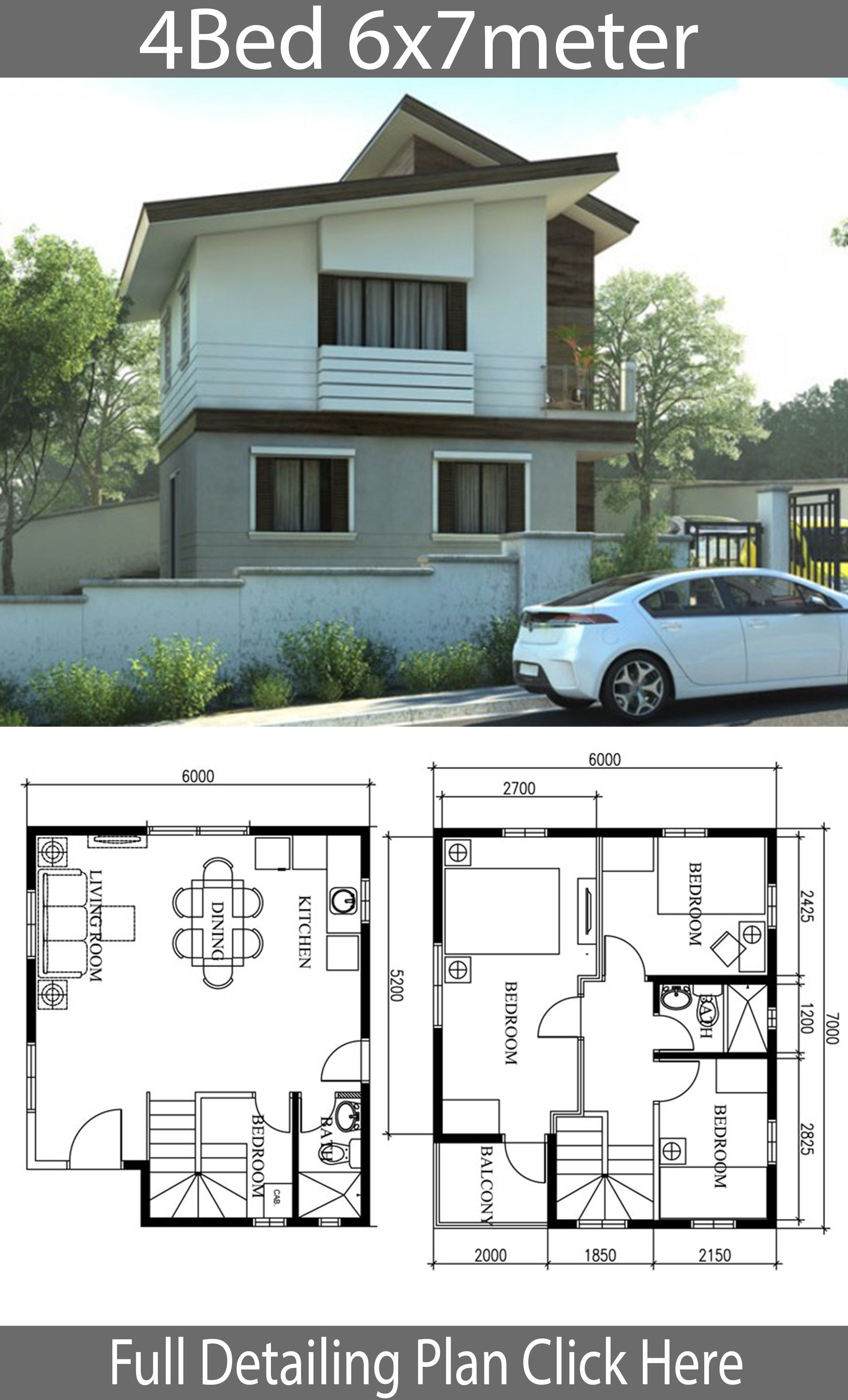 Small Home Design Plan 6x7m With 4 Bedrooms Home Plans Small House Design Home Design Plan 2 Storey House Design