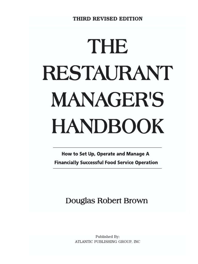 Handbook for restaurant managers restaurant management