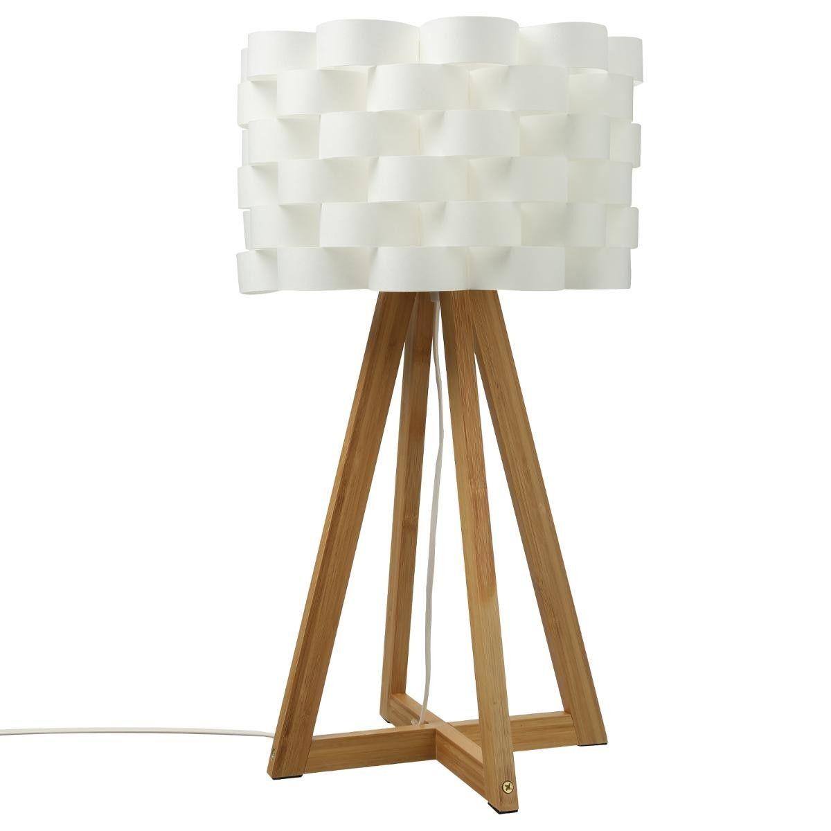 Lampe bambou papier MOKI H55 Lampe à poser, blanc, prise