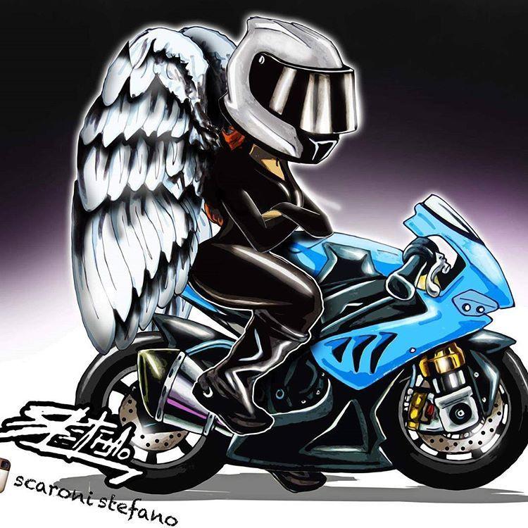 Мотоциклист с крыльями картинка