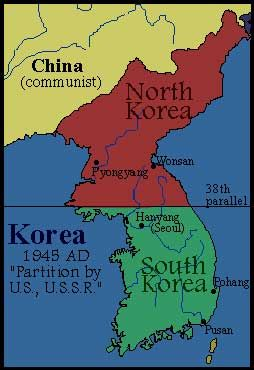 1945 division of Korea along the 38th parallel | Korea | Country ...