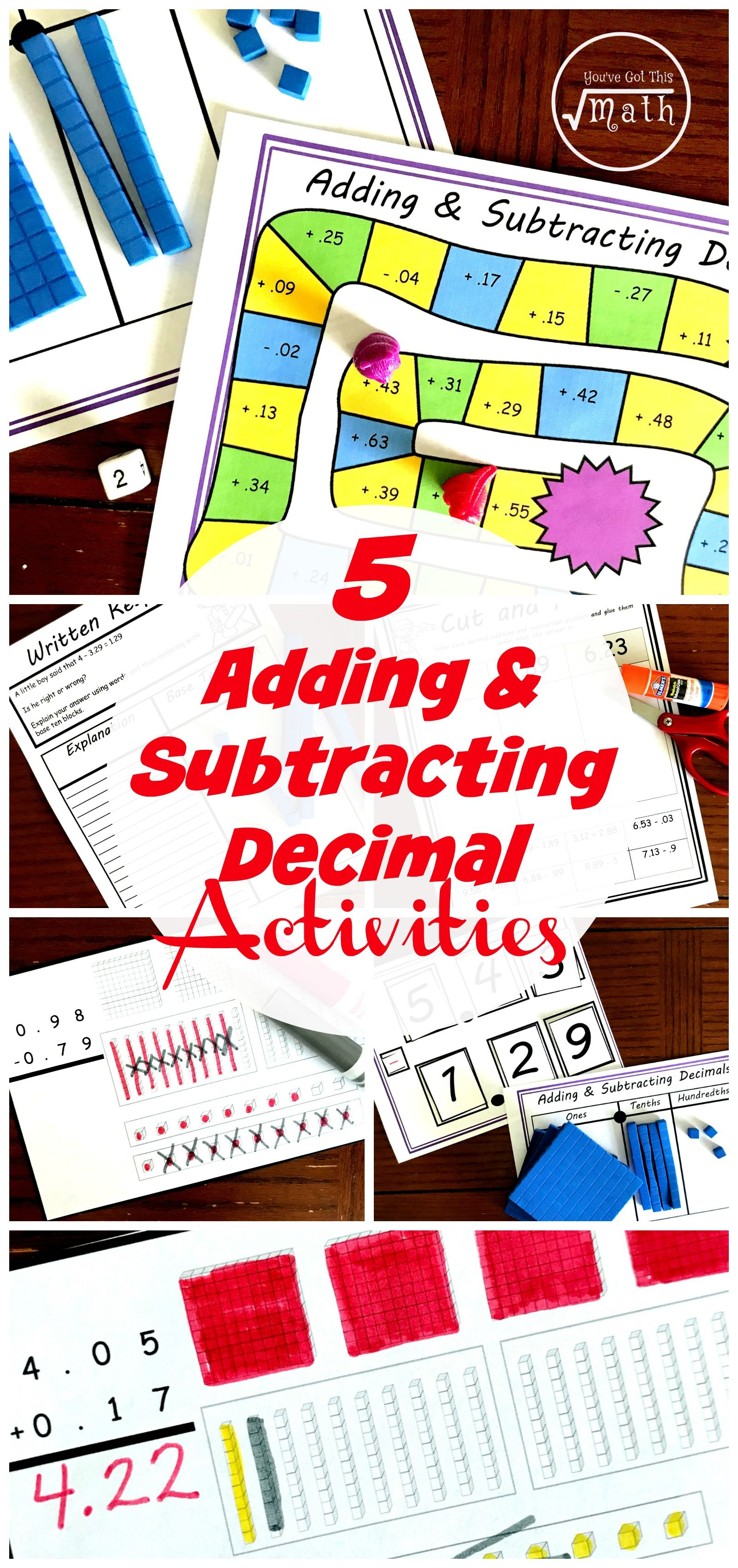 Adding And Subtracting Decimals Using Base Ten Blocks