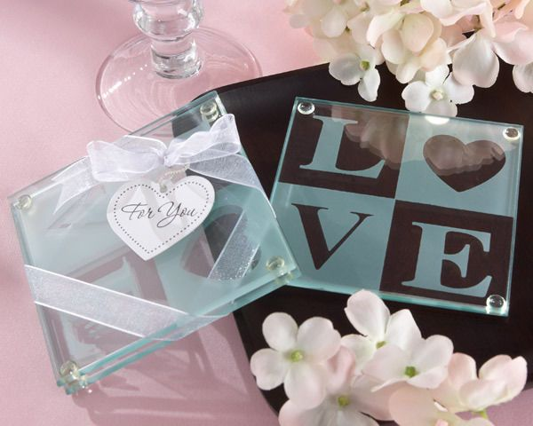 72 Sets of 2 Clearly in Love Glass Coaster Bridal Wedding Favor in Gift Box