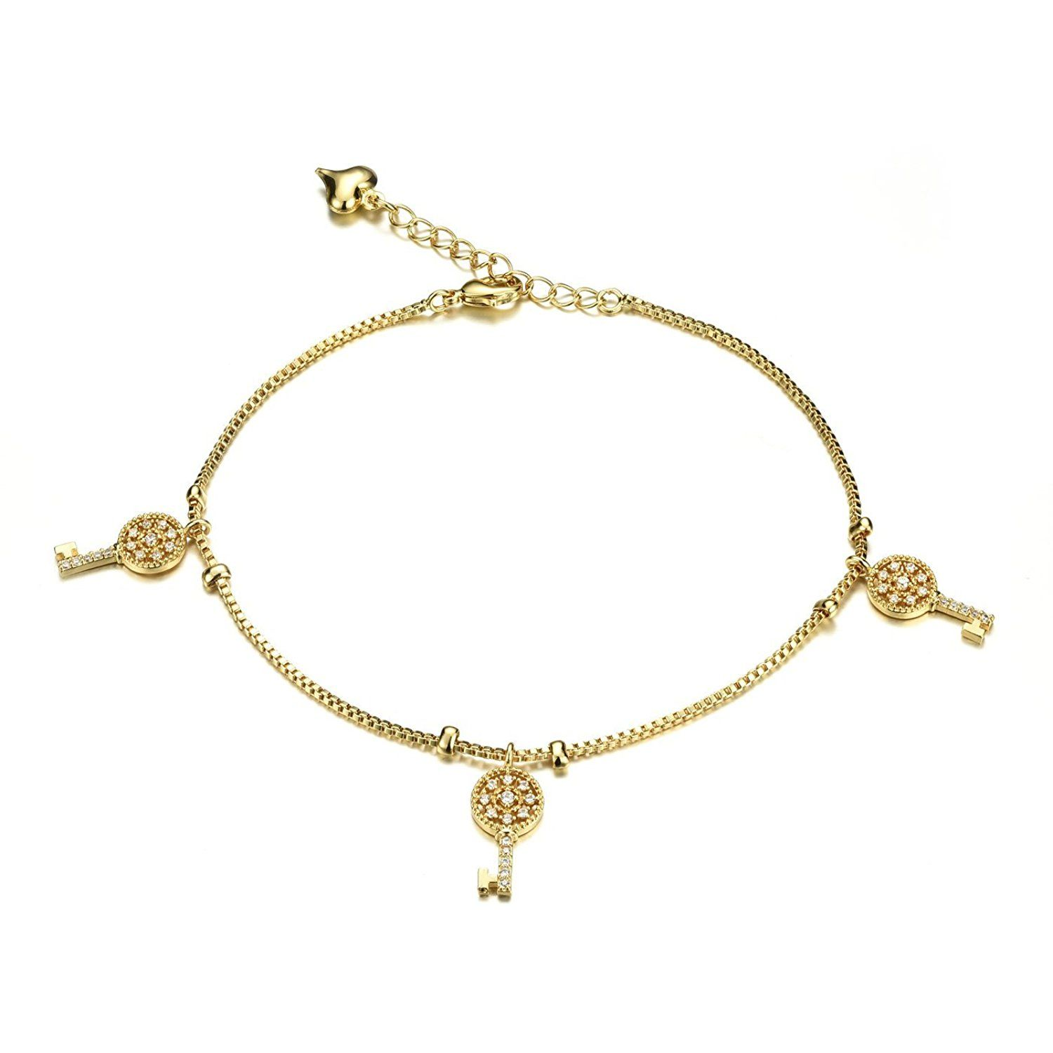 world key gold charms filled fantasy anklet and products heart