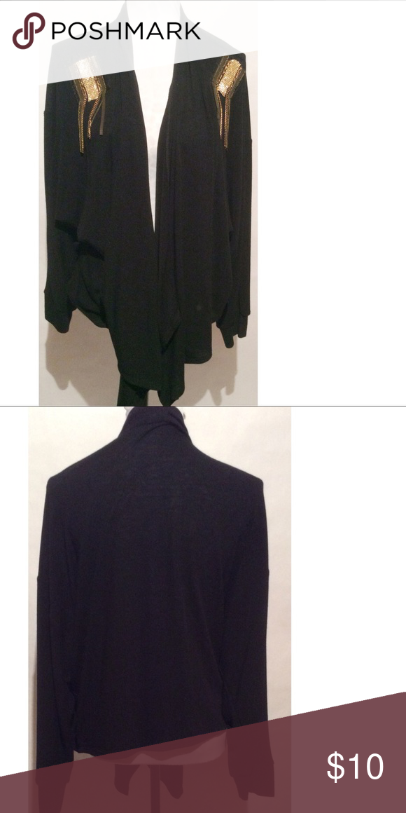 Black & Gold Cami Size L length 35 100% polyester Moa Moa Sweaters Cardigans