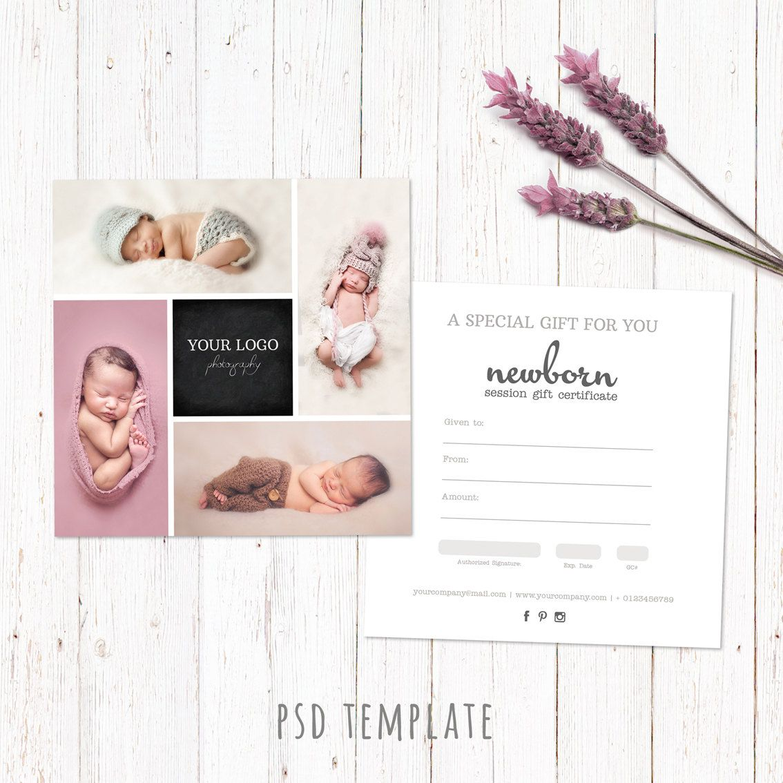 Gift certificate template. Newborn session photography gift card ...