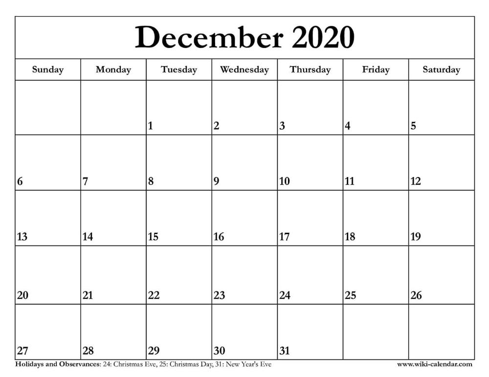 December 2020 Calendar Printable Calendar Printables Monthly Calendar Printable December Calendar