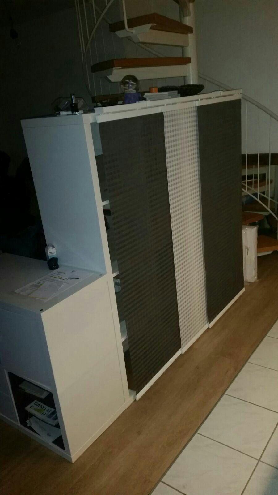 New Pictures Ikea Kallax Hack Room Divider With Sliding Curtain Simply The 3 Rail On The Kalla Ideas Th Schiebegardinen Ikea Raumteiler Ideen Raumteiler