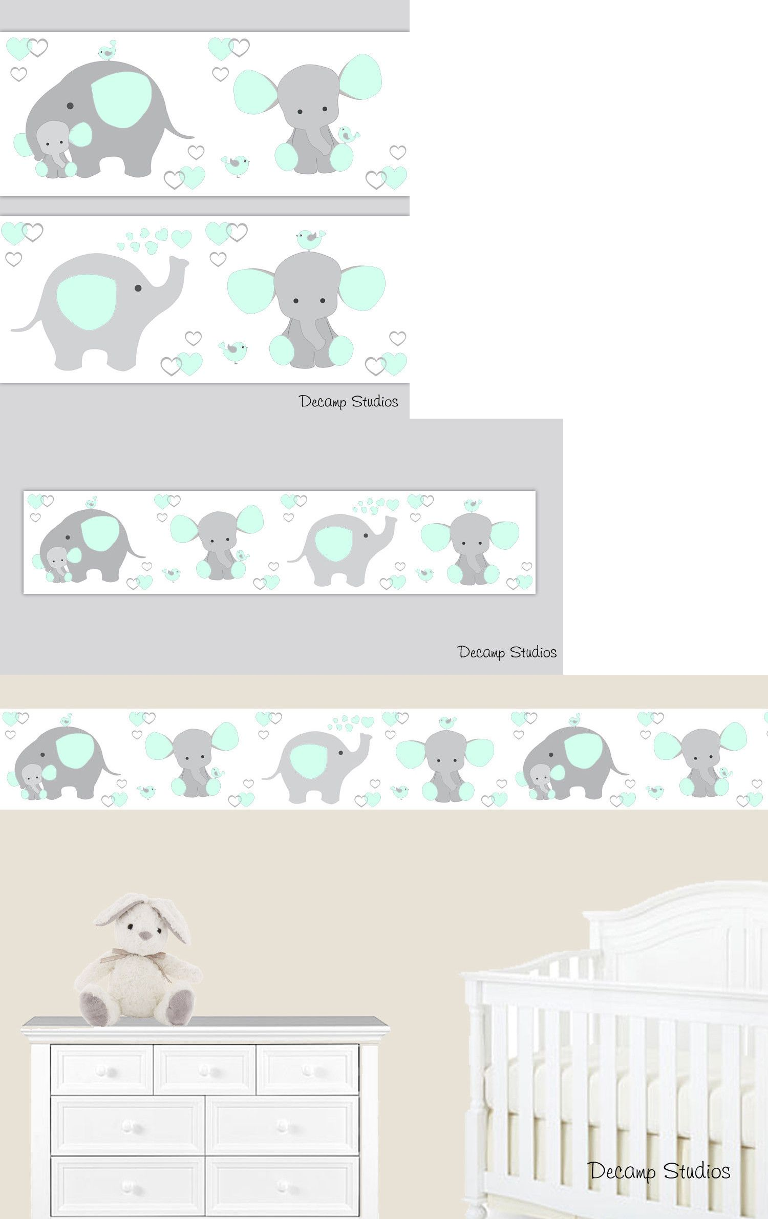 ELEPHANT WALLPAPER BORDER Wall Decal Jungle Safari Animals
