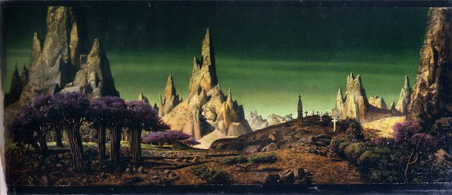 Matte Shot - a tribute to Golden Era special fx: July 2012 Henri Hillinck full painting from Forbidden Planet 1956