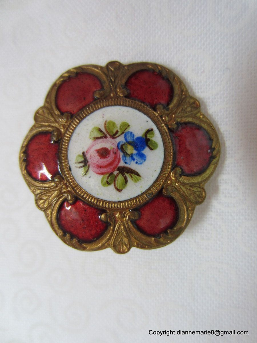 Enamel and Brass Antique Button. Owner/Seller buttonfun7 on ebay.