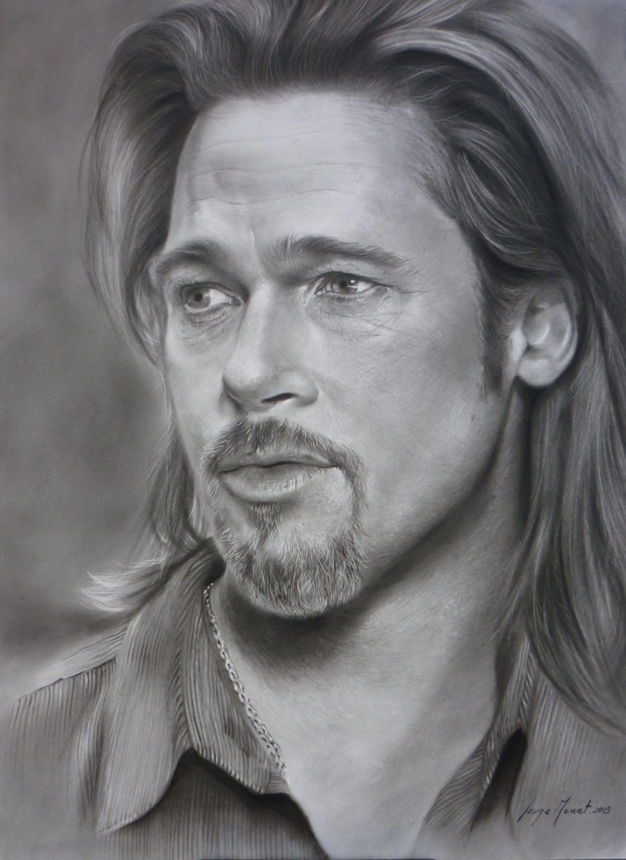 Brad Pitt Retrato Al Carboncillo 50x70 Retratos Fotos De Famosos Dibujos Con Carboncillo