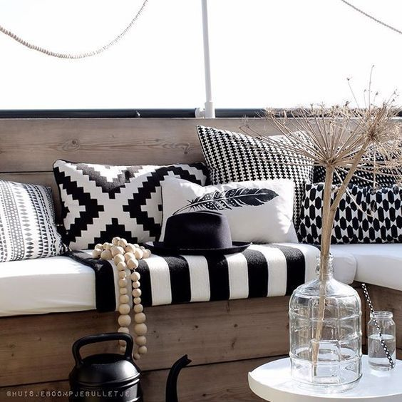Outdoor Decor Black White And Rad All Over Elements Of Style Patio Cushions Outdoor White Home Decor Patio Color Schemes