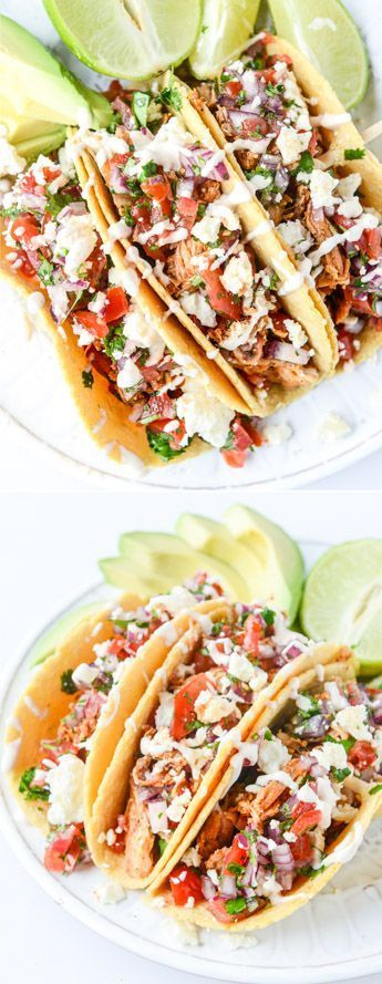 #Chicken #Easy #Tacos #Weeknight       EASY Chicken Tacos for Cinco de Mayo! I howsweeteats.com #mexicanchickentacos