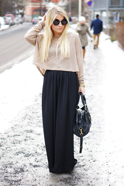94773c5040 Winter outfit  Black high wasted maxi skirt with a cropped flowy sweater
