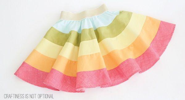 Free pattern: Twirly rainbow skirt for little girls
