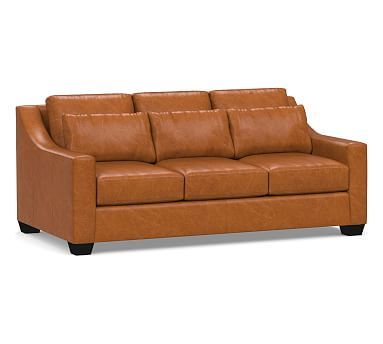 York Deep Slope Arm Leather Sofa Collection Leather Sofa