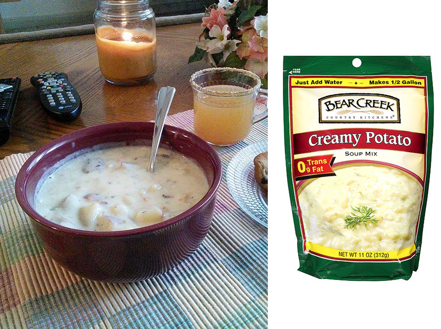 Creamy Potato Soup Using Bear Creek Mix As A Base For Creaminess Add Fresh Ingredients To Make I Creamy Potato Soup Bear Creek Soup Vegetarian Recipes Easy