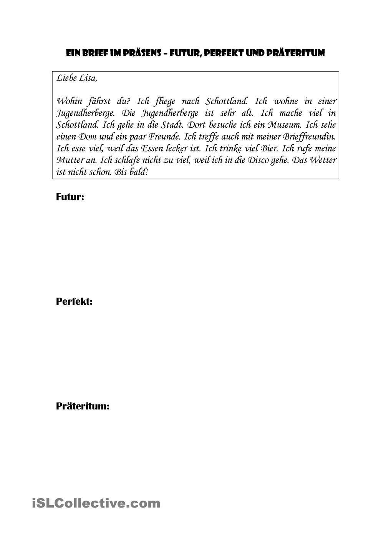 Ein Brief Im Präsens Futur Perfekt Präteritum Schreiben