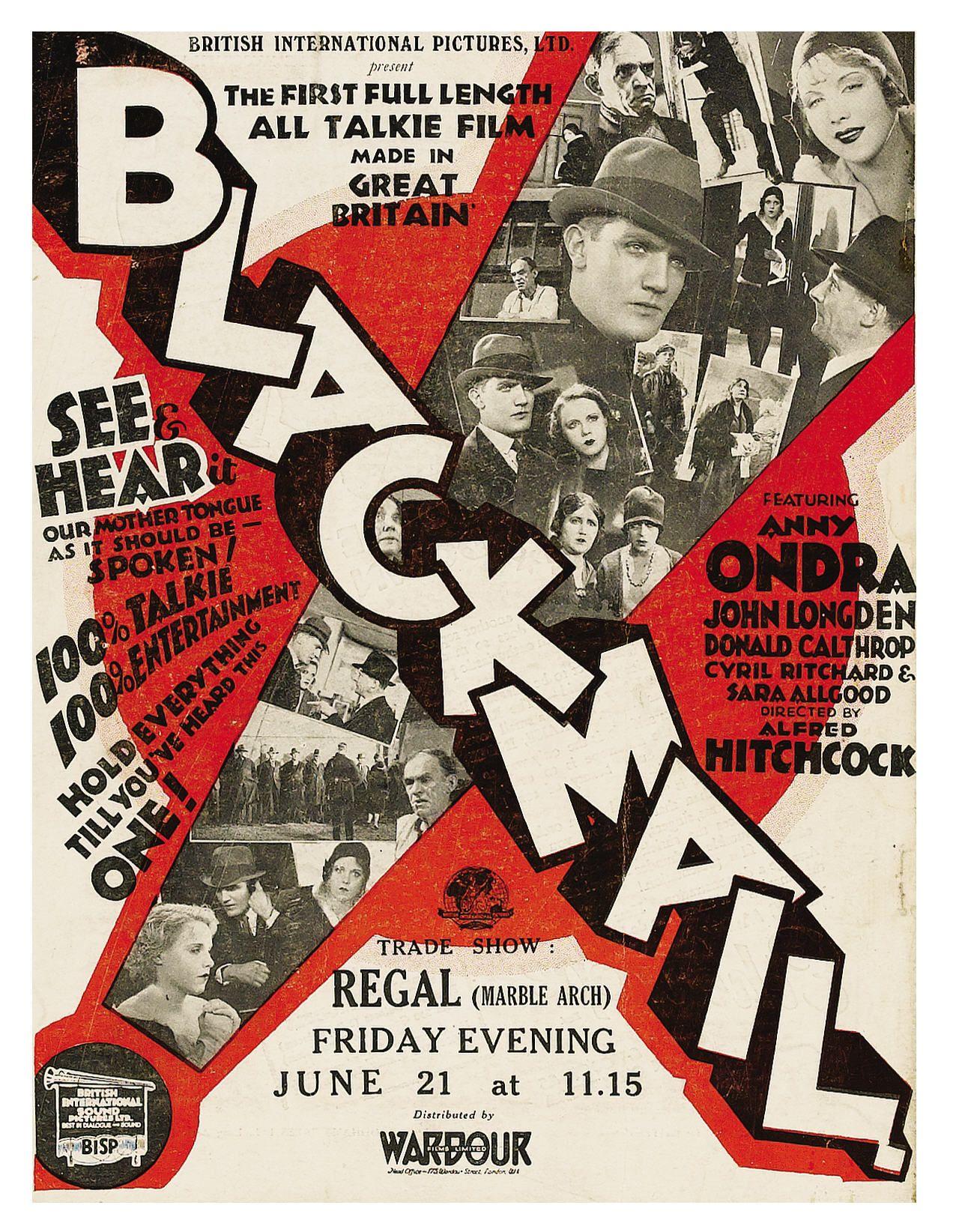 Blackmail (1929, dir. Alfred Hitchcock) UK Kine Weekly trade magazine ad