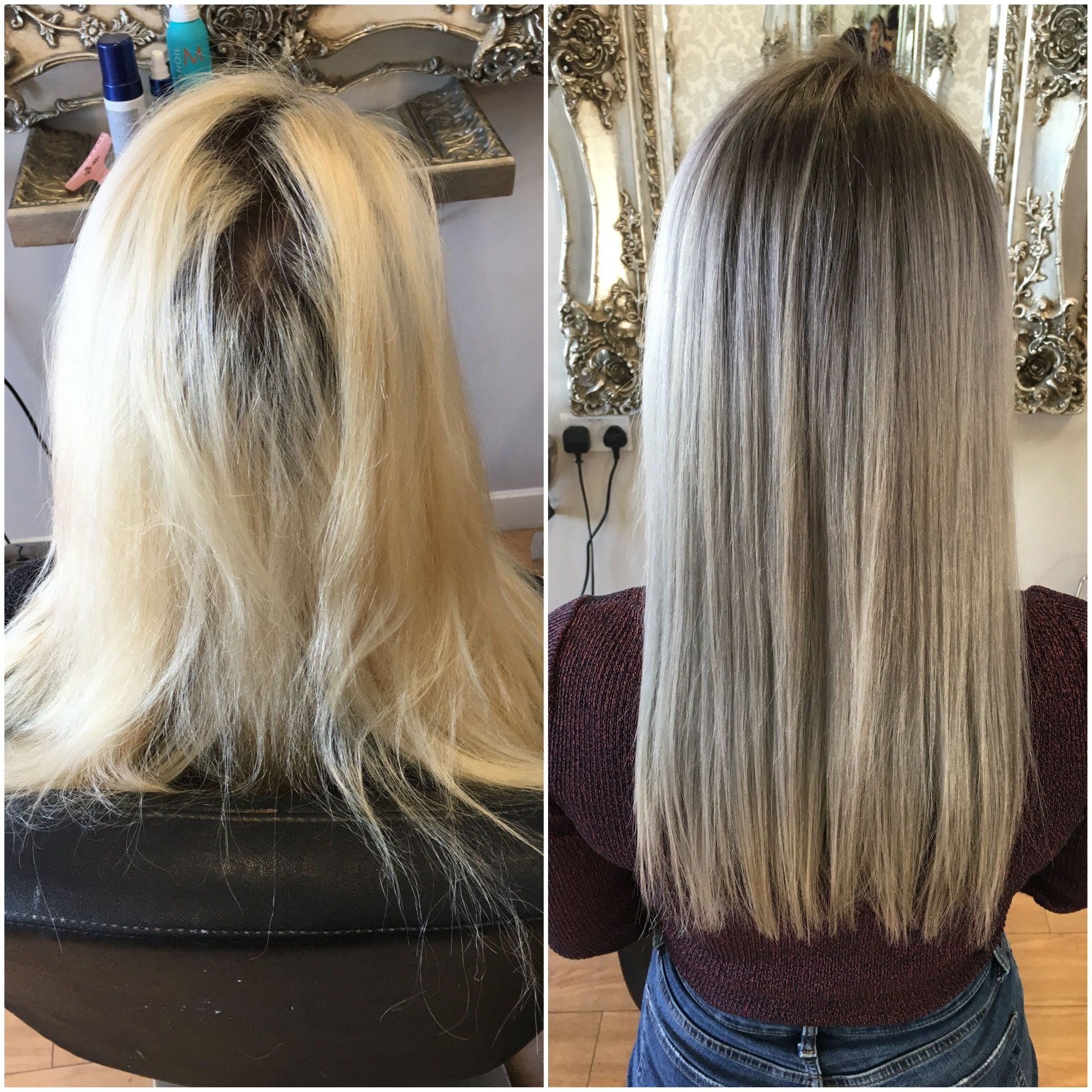 Grey Toners Used To Blend Existing Bleached Hair Into Roots With