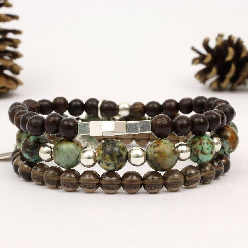 Bracelets homme turquoise véritable bracelet quartz fumé bracelet pour homme  bracelet homme perle bracelet turquoise bracelet bois homme
