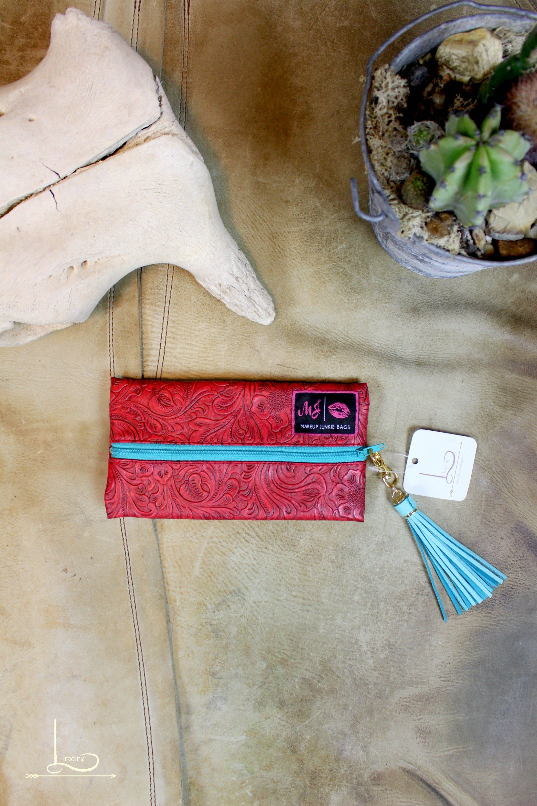 Red Tooled Makeup Junkie Bag Mini womensfashion