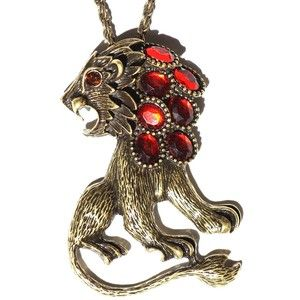 Roaring Lion Necklace Red Crystal Leo Pendant African Safari ND07 Wildlife Vintage Fashion Jewelry:Amazon:Jewelry