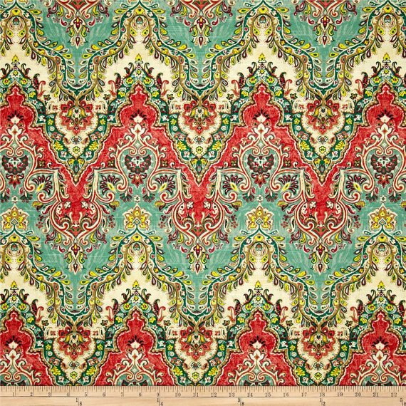 Teal Green Red Yellow And Ivory Curtain Panels Custom Drapery
