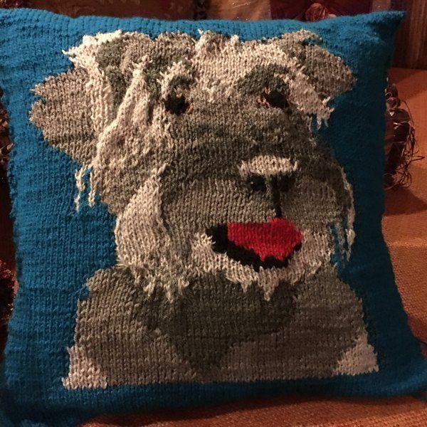 Miniature Schnauzer Pet Portrait Cushion Cover Knitting ...