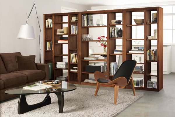 Modern Woodwind Open Back Wall Unit 17d 92w 72h In Charcoal Stain Maple Wood