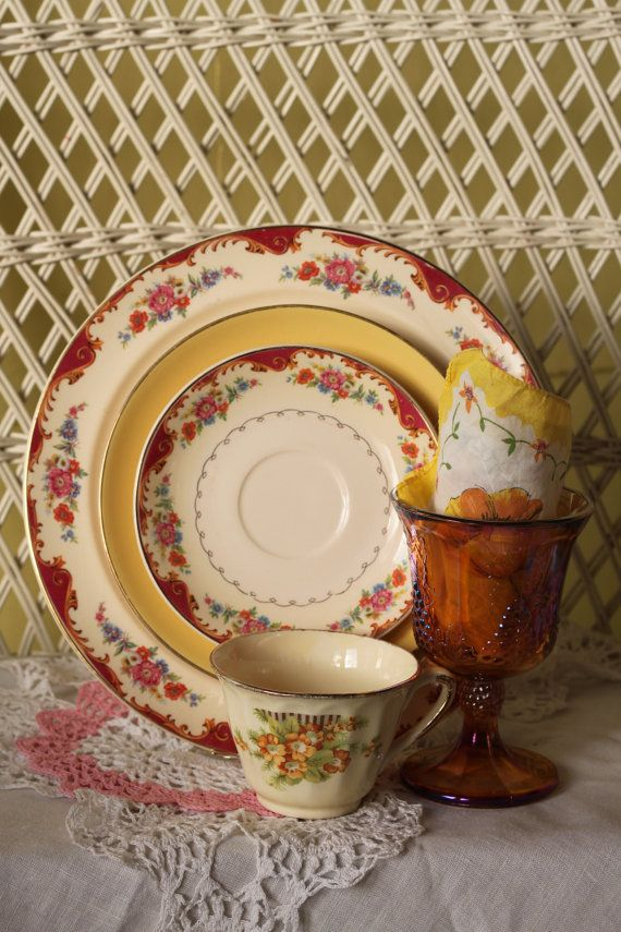 Eclectic Dishes Antique Dinnerware by FancifulTableware on Etsy $49.99 : eclectic dinnerware - pezcame.com