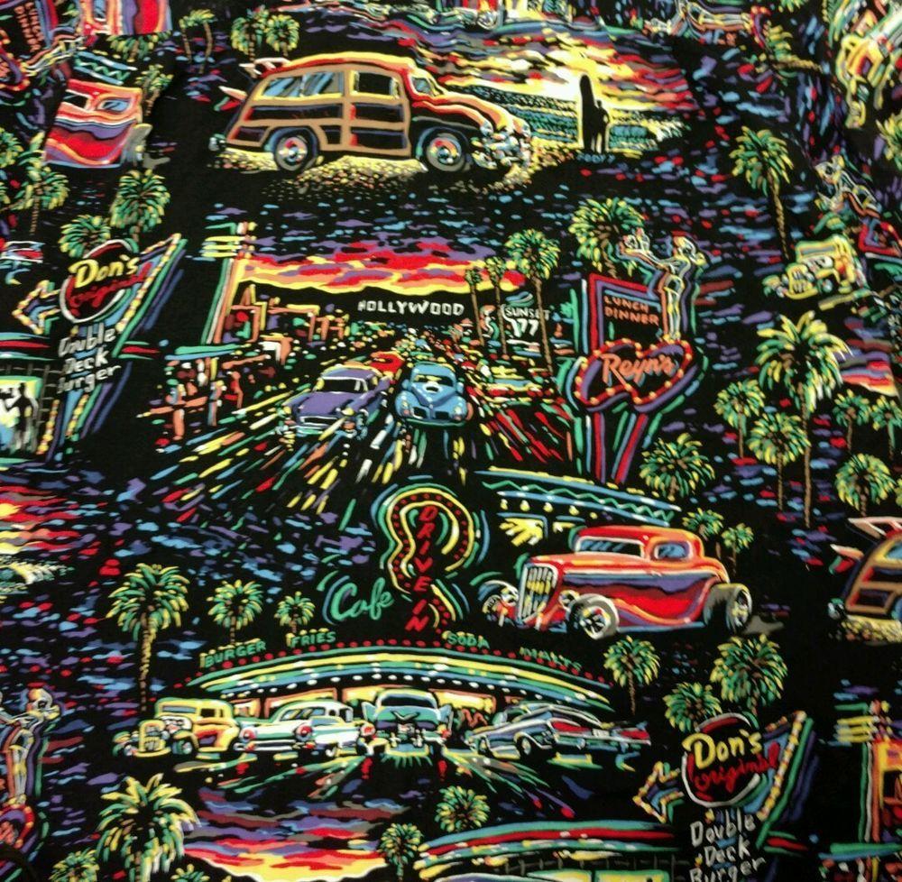 91d8e443 Vtg Reyn Spooner Art of Eddy Y Hot Rod Car Hawaiian Shirt Med Roadster  Hollywood #reynspooner #Hawaiian