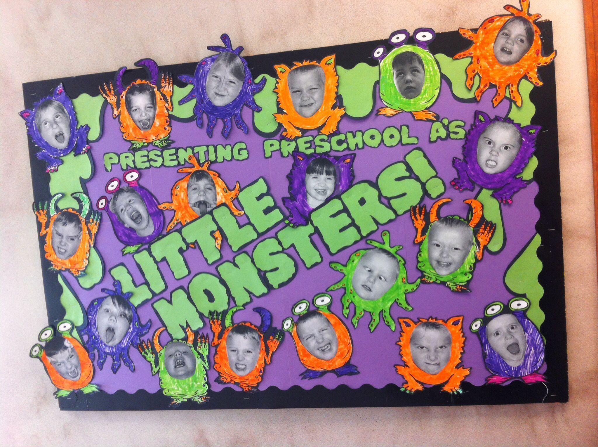 Halloween bulletin board pre-k - elementary ed. Little monsters. October bulletin board. My class lo