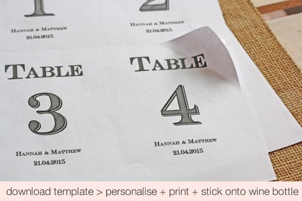 Free Printable Wedding Table Numbers Template For Wine Bottles