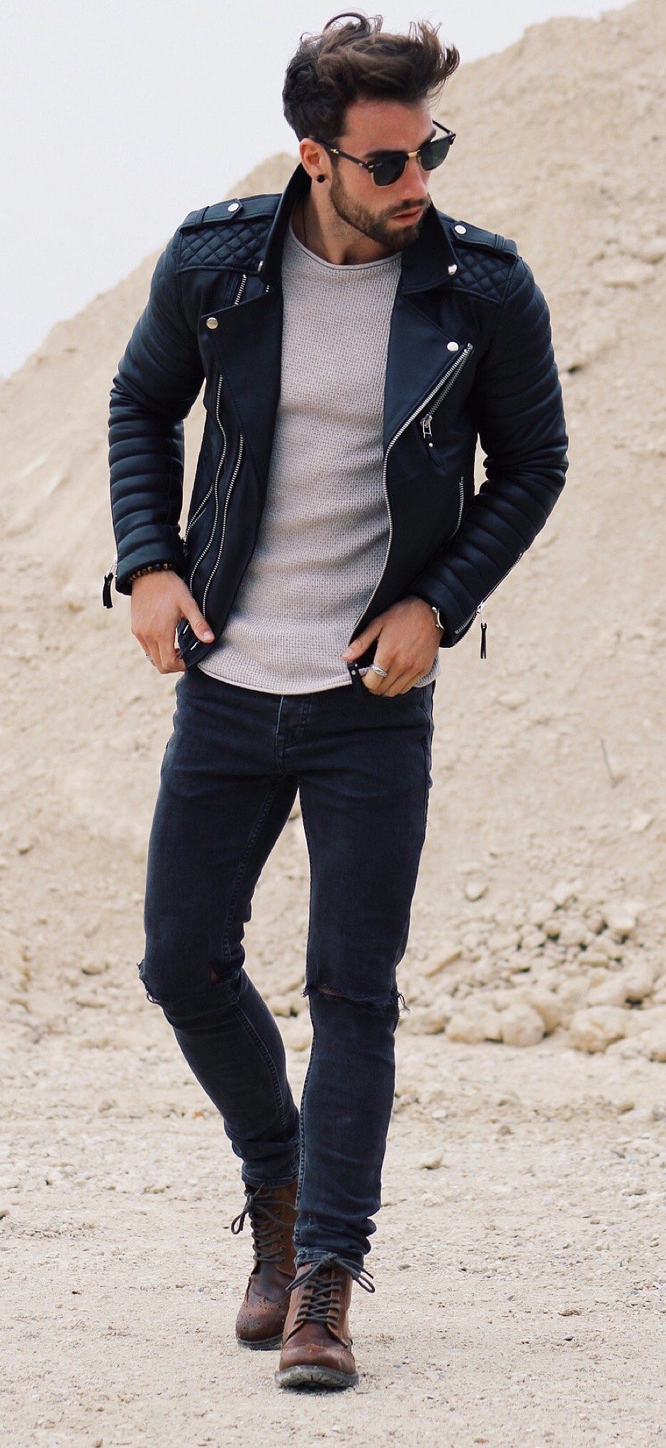street style / gray knit + leather Mens fashion edgy