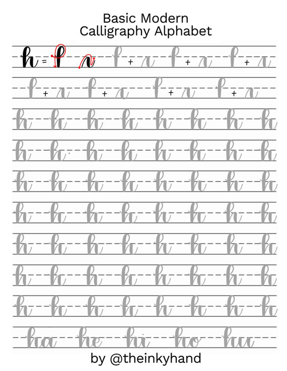 Worksheets Calligraphy Practice Worksheets basic modern calligraphy practice sheets by theinkyhand lowercase alphabet digital download